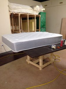 mattress on a table