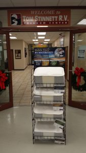 Stinnett RV has a display rack prominently displayed for their customers.
